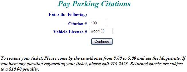 Enter citation information example screen