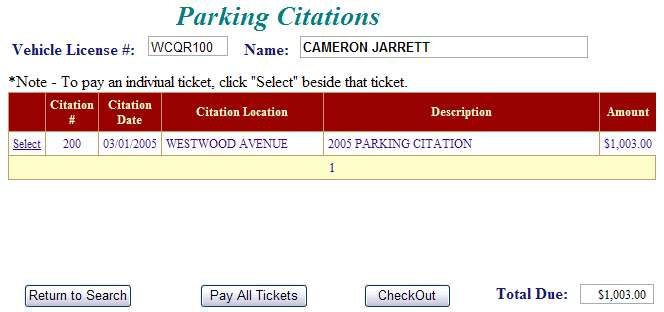 Select another citation example screen